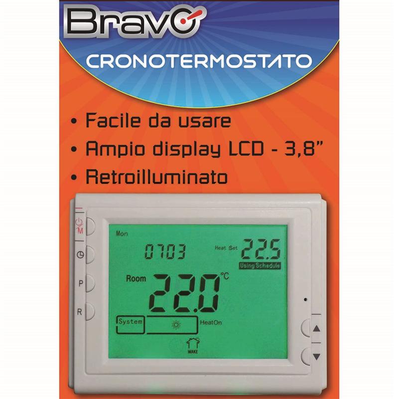 CRONOTERMOSTATO DIGITALE SETTIMANALE CON DISPLAY LCD 3,8 POLLICI
